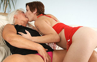 Naughty old and young lesbians go wild