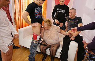 This kinky mama gets the cum of seven men in her element