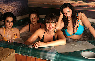 Mature ladies relaxing at an all female sauna