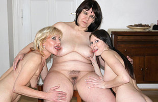 Two grownup sluts lez up a horny young babe