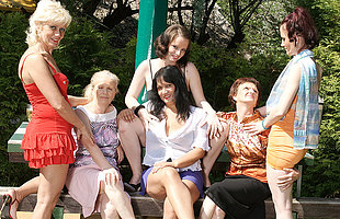 Six horny old and young lesbians shot at a dirty wet picnic