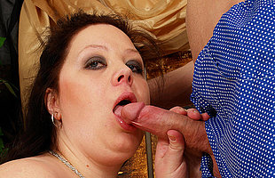 Huge titted mama getting a mouth potent of jizz