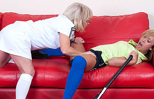 Hot babe getting lezzed up by her mature coach