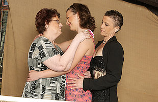 Three old and young lesbians have fun