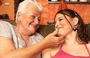 Horny hot spoil doing a lesbian old mama