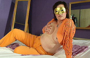 Masked of age slut playing with her pussy