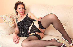 Naughty housewife playing with her fingers increased by her toy