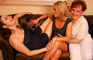 Three lesbian housewives getting wet on the couch