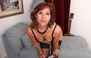 Horny American mature lady strips first added to then plays anent her toy