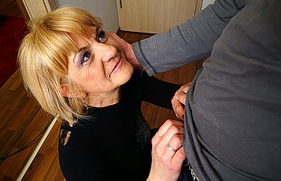 Horny adult lady doing say no to toyboy