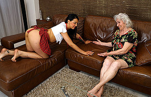 Hairy granny getting destroyed by a hot young lesbian babe