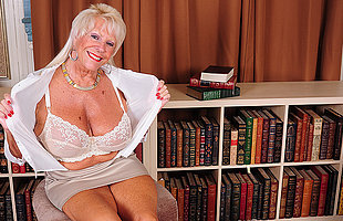Hot American grandma shows great rack increased by gets herself wet