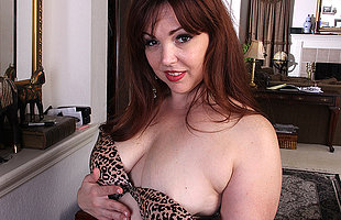 Cute chubby American housewife playing with herself