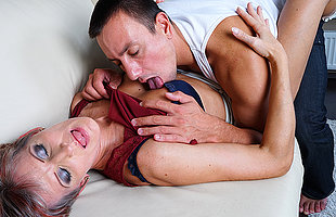Lickerish mature slut fucking her younger lover