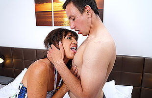 Horny housewife fucking coupled with sucking her younger lover
