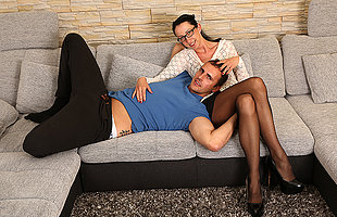 German housewife fucking coupled with sucking on the couch