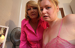 Horny old and young lesbian couple from the UK get wet