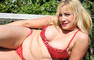 British housewife getting some sun and then some