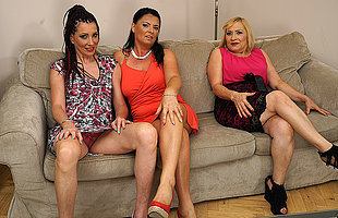 Three horny housewives fooling around on the chaise longue