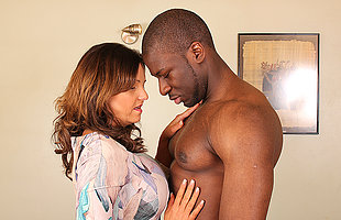 Hot British mom cheating in the sky her husband nearby a strapping black guy