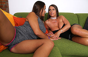 Big breasted lesbian MILF doing a hot teeny babe