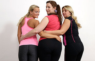 Three bisexual housewives sharing one hard cock readily obtainable gymclass