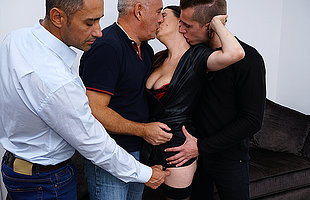 Naughty cougar getting a DP after a long time doing three guys