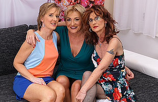 Three older ladies explore their sensual sides