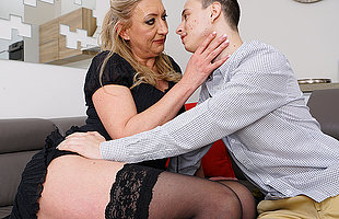 naughty toyboy gets to enjoy a hairy mature pussy