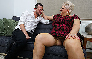 Obscene grandma blows her toyboy plus gets fucked