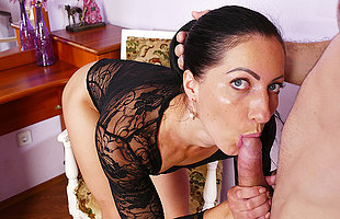Horny materfamilias gets fucked hard in the brush pussy and ass