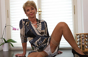 Elegant grandma shows wanting sexy body and plays with her toy