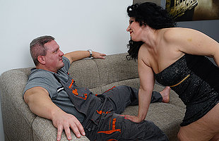 Sultry housewife sucking and fucking