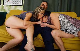 Horny British housewife takes it up dramatize expunge ass in hot threesome relative to her girlfriend coupled with their stud