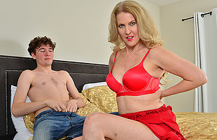 Blonde MILF Lacy B Cummings enjoys the big cock be proper of her sons best friend