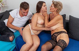 Sexy grannie joins young couple at hand hot threesome