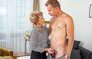 Sexy grandma seduces young man and sucks his cock before he fucks say no to shaved pussy