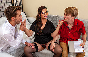 Curvy mature teacher doing two horny toyboy students